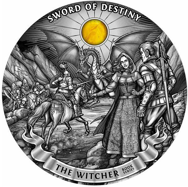 Sword of Destiny The Witcher 1 Kilo Antique finish Silver Coin 50$ Niue 2020