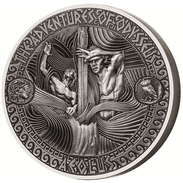 The Unleashed Storm of Aeolus The Adventures of Odysseus 2 oz Antique finish Silver Coin 5$ Solomon Islands 2018