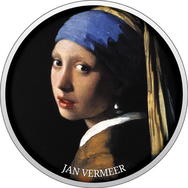 Girl with a Pearl Earring Pride of European Painting Proof Silver Coin 500 Francs Cameroon 2017