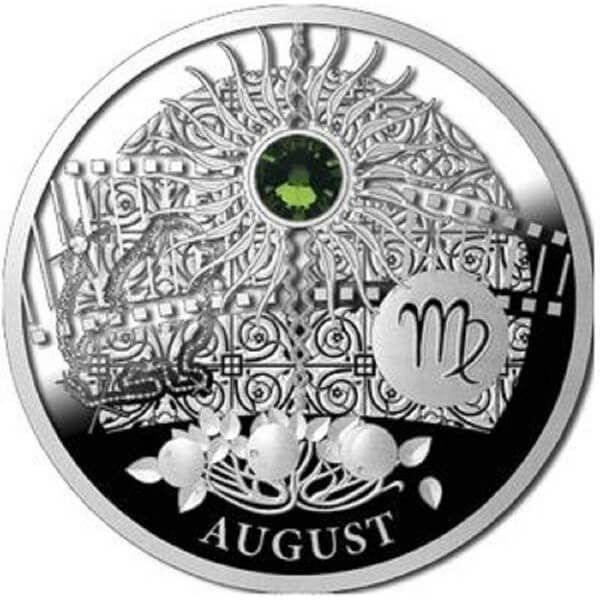 AUGUST  The Magic Stones of Happiness  Proof silver Coin 1$ Niue 2013