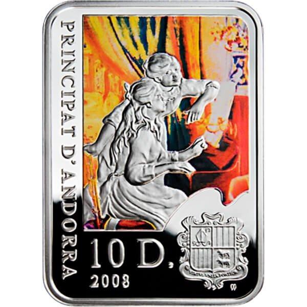 Pierre Auguste Renoir Painters of the World Proof Silver Coin 10$ diners Andorra 2008