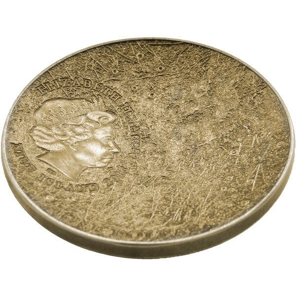 Niue 2016 1$ Mercury Solar System Yellow Antique Finish with Meteorite NWA 8409 Silver Coin