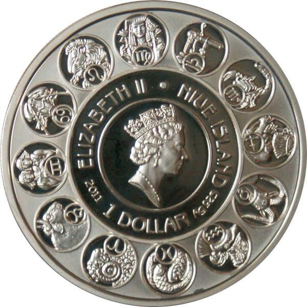 Niue 2011 1$ Gemini A. Mucha Zodiac Proof Silver Coin