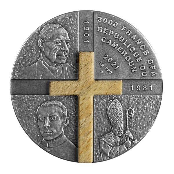 Stefan Wyszynski Primate Of The Millennium 100 g Antique finish Silver Coin 3000 Francs CFA Cameroon 2021