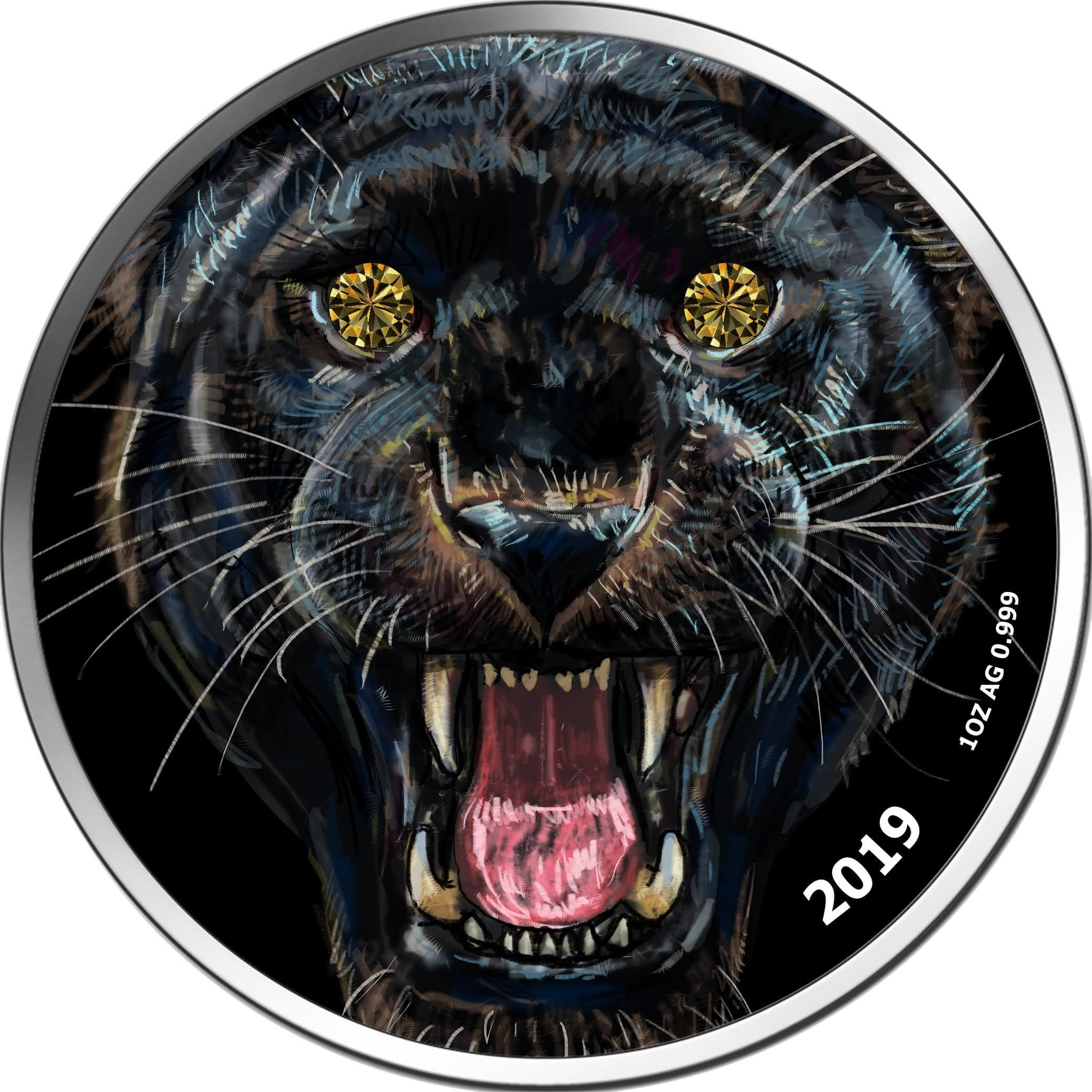 Diamond Black Panther 1 oz BU Silver Coin 1000 Francs CFA Cameroon 2019