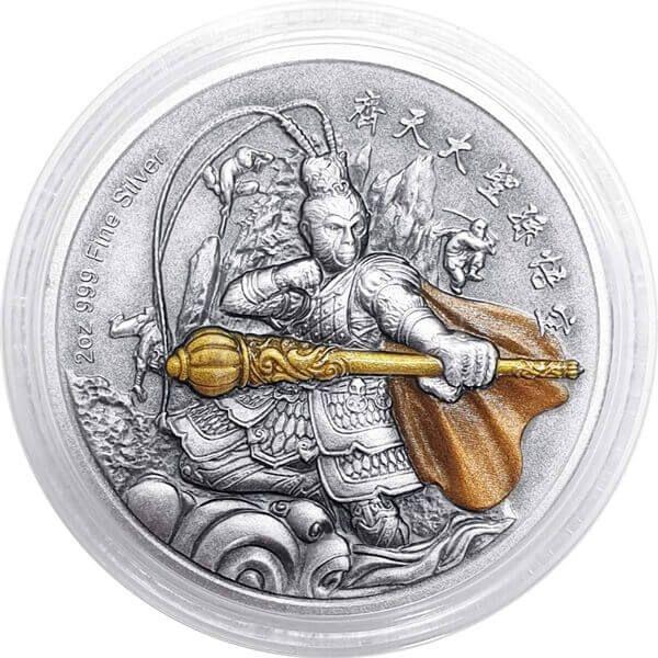 Sun Wukong Chinese Gods Mythology 2 oz Antique finish Silver Coin 5$ Niue 2019