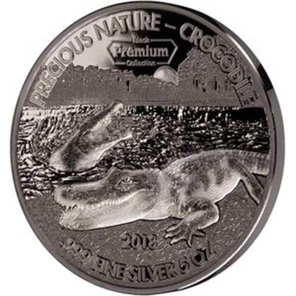 Precious Nature Crocodile Black Premium Collection 5 oz Black Palladium and white Rhodium Finish BU Silver Coin 5000 Francs Benin 2018