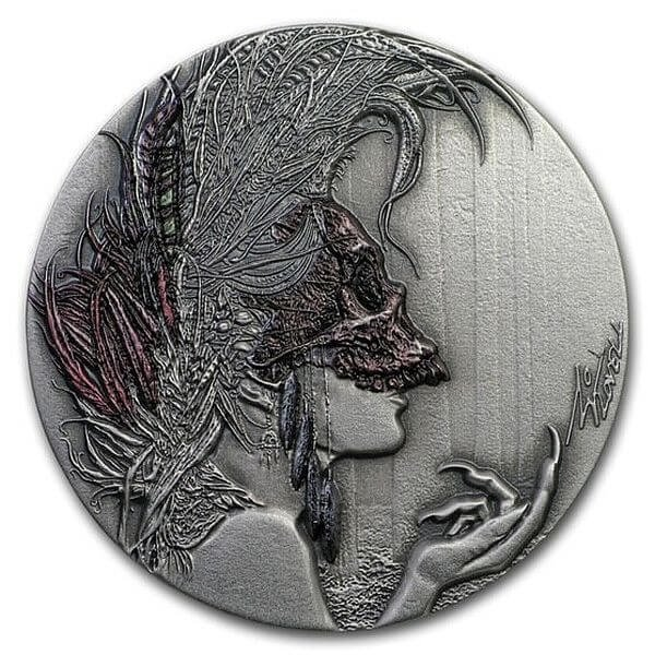 Evanesca Dark Beauties 50g Antique Finish Silver Coin 2$ Niue 2019