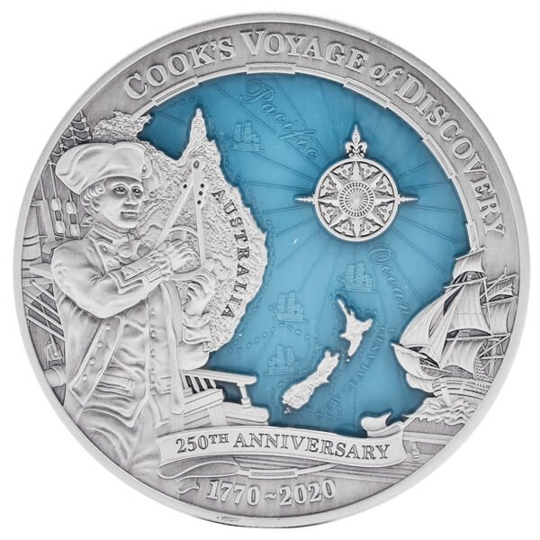 James Cook's Discovery 3oz Antique Finish Silver Coin 10$ Solomon Islands 2020