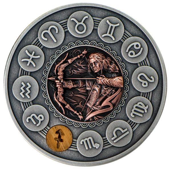 Sagittarius Zodiac Signs 1oz Antique finish Silver Coin 1$ Niue 2019