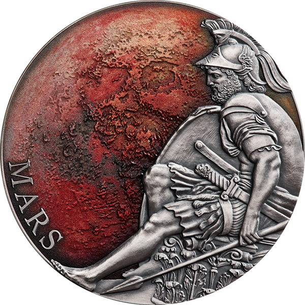 Mars Planets and Gods 3 oz Antique finish Silver Coin 3000 Francs CFA Cameroon 2020