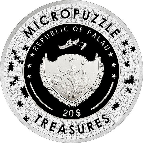 Micropuzzle Treasures Mucha - Reverie 3 oz Proof Silver Coin 20$ Palau 2021