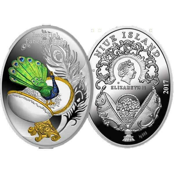 Egg With a Peacock Imperial Faberge Eggs Proof Silver Coin 1$ Niue 2017