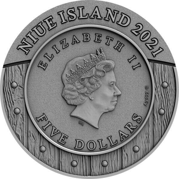 Mulan Woman Warrior 2 oz Antique finish Silver Coin 5$ Niue 2021