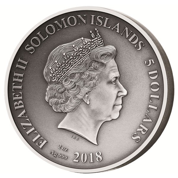The Land of the Lotophagi The Adventures of Odysseus 2 oz Antigue finish Silver Coin 5$ Solomon Islands 2018