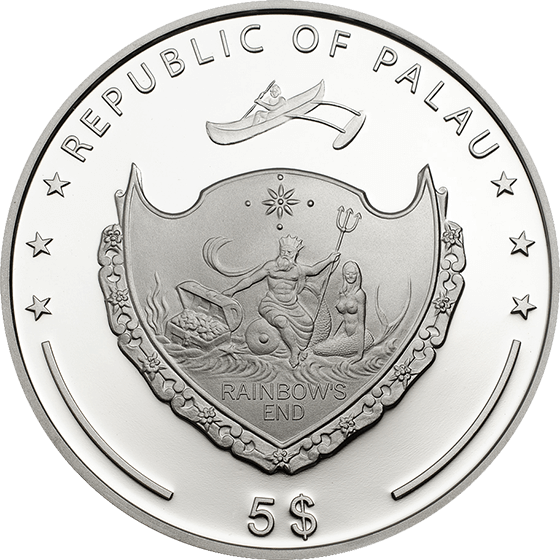 Palau 2014 5$ Beauty of the Sea  Marine Life Protection Pearl 2014  Proof Silver Coin