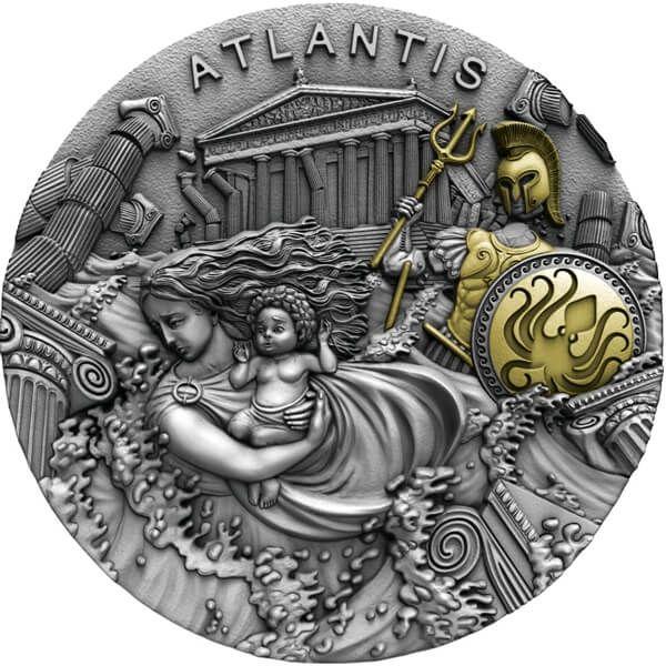 Atlantis Legendary Lands 2 oz Antique finish Silver Coin 5$ Niue 2019