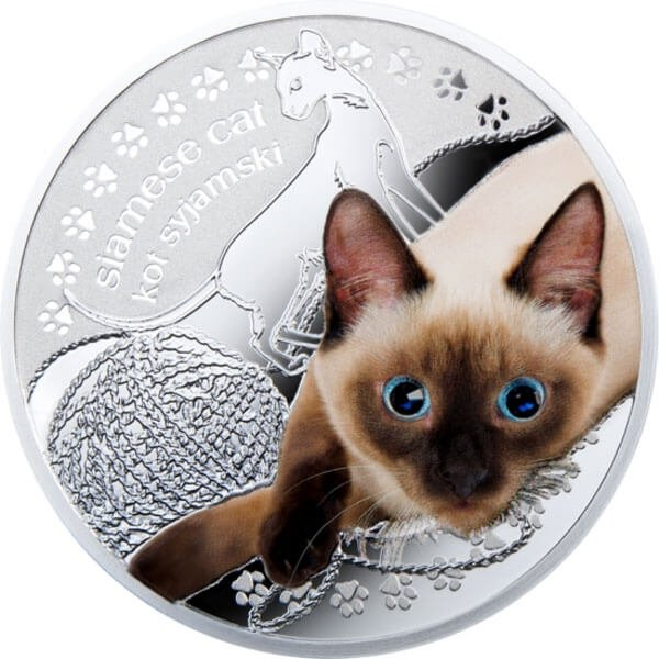 Siamese Cat Man's Best Friends – Cats Proof Silver Coin 1$ Niue 2014