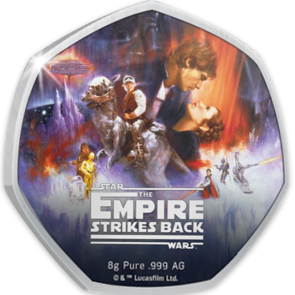 Star Wars: 40th Anniversary The Empire Strikes Back Proof-like Silver Coin 50 Cents Cook Islands 2020