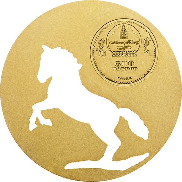 Mongolia 2014 500 togrog Horse Mongolian Nature 1/2 oz BU Silver Coin
