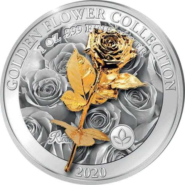 Rose Golden Flower Collection 1oz 3D Proof Silver Coin 5$ Samoa 2020