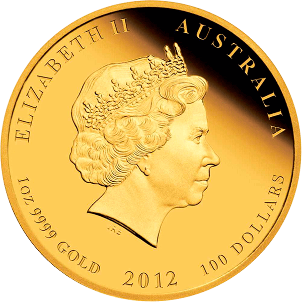 Year of the Dragon 1 Oz Proof Gold Coloured Coin 100$ Australia 2012