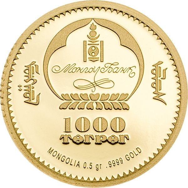 Ichthyosauria Evolution of Life 2017 0.5 Proof Gold Coin 1000 togrog Mongolia 2017