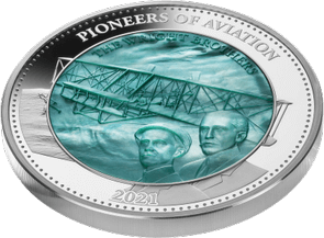 Pioneers Aviation Mother of Pearl 5oz Proof Silver Coin 25$ Solomon Islands 2021