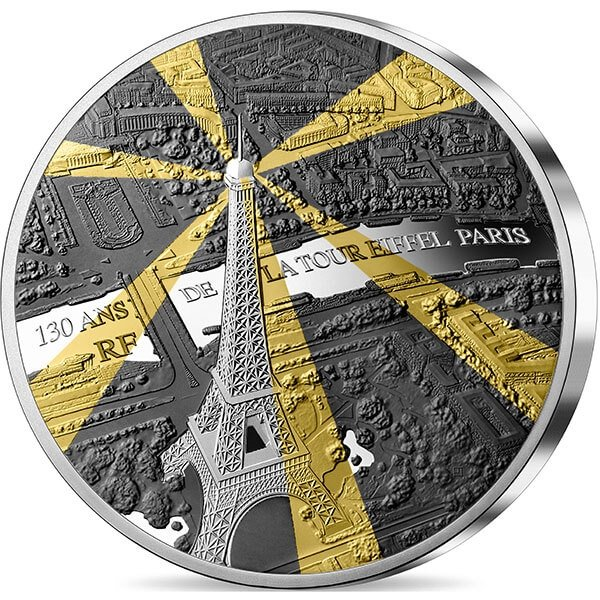 Eiffel Tower Treasures of Paris 163.8 g Proof Silver Coin 50 euro France 2019