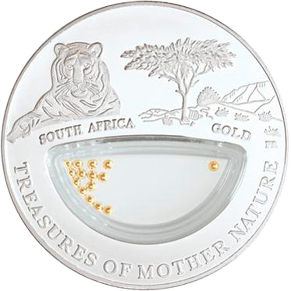 South Africa - Gold Treasures of Mother Nature Proof Silver Coin 1$ Fiji 2012