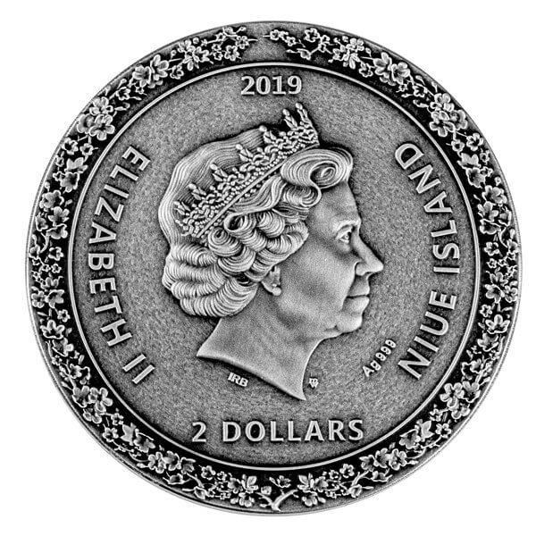 Geisha 2oz Antique Finish Silver Coin 2$ Niue 2019