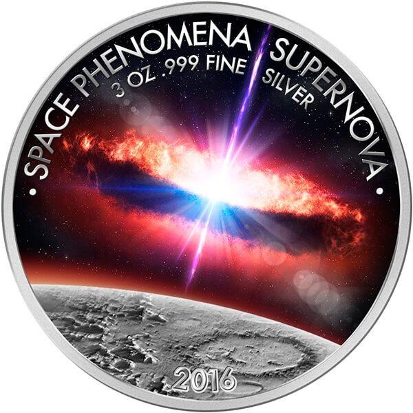 Benin 2016 1500 francs Supernova Space Phenomena 3 oz Proof-like Silver Coin