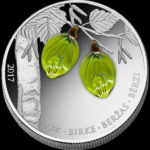 Equatorial Guinea 2017 1000 Francs Birch Leaf Spring Proof Silver Coin