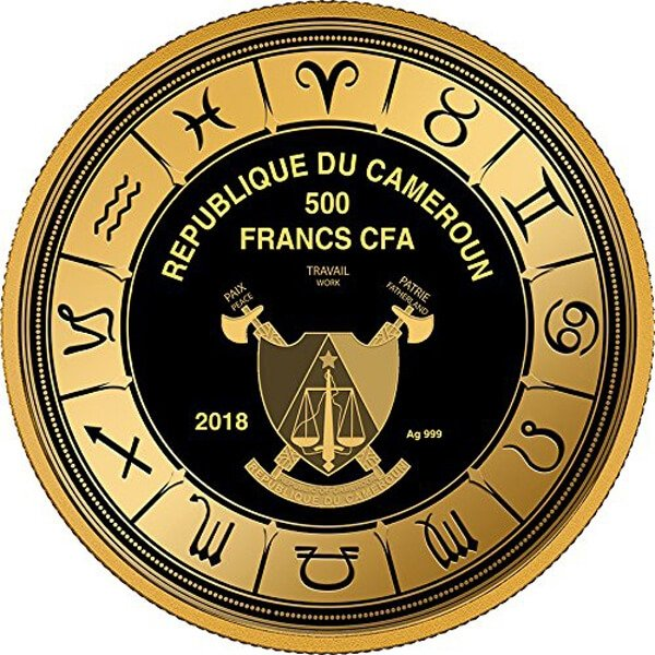 Taurus Zodiac Sign Proof Silver Coin 500 Francs Cameroon 2018