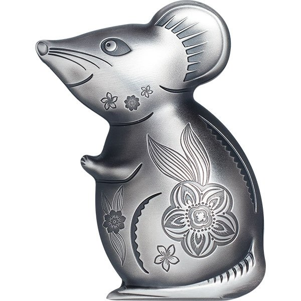 Witty Silver Mouse 1 oz Proof  Silver Coin 500 togrog Mongolia 2019