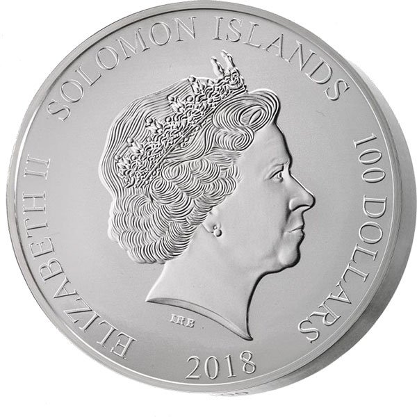 Hans Christian Andersen 1001g 3D Highly Detailed Relief BU Silver Coin Solomon Islands 100$ 2018