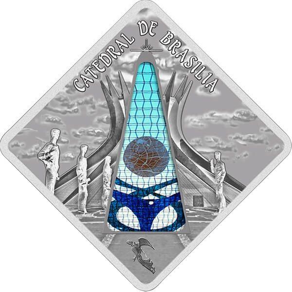 Brasilia Cathedral Brazil  Sacred Art - Holy Windows UNC Silver Coin 10$ Palau 2012