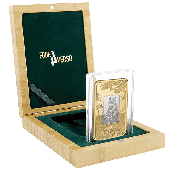 Niue 2016 5$ Great Chinese Panda The Four Verso Bar 2 oz BU Silver Coin