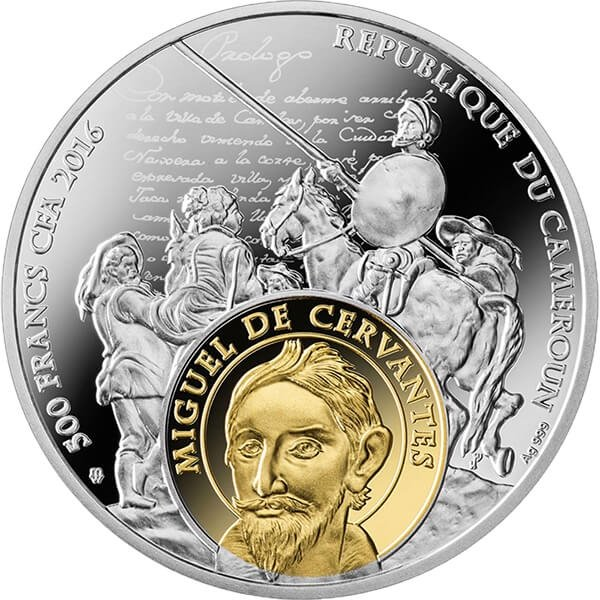 Cameroon 2016 500 Francs Cervantes and Shakespeare Proof Silver Coin