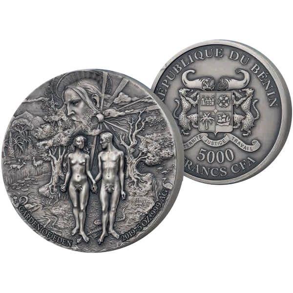 Garden of Eden 5 oz Antique finish Silver Coin 5000 Francs Benin 2019
