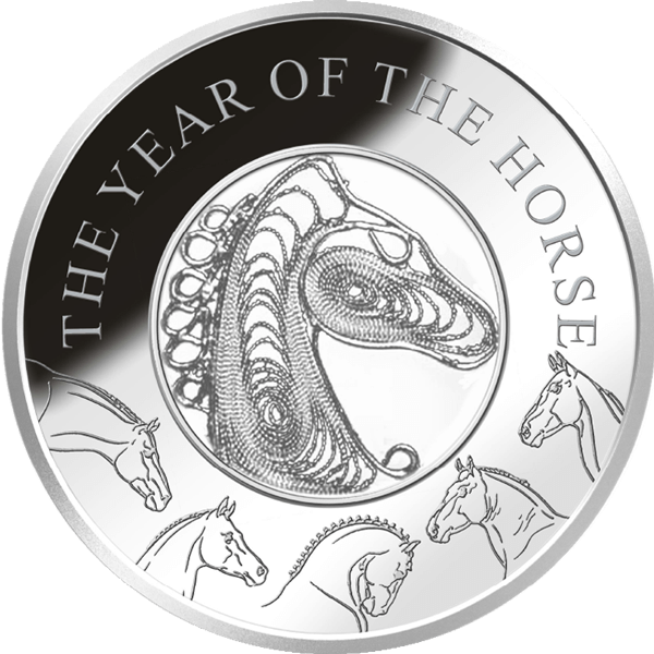 Fiji 2014 1$ Year of the Horse  Filigree  Proof Silver Coin