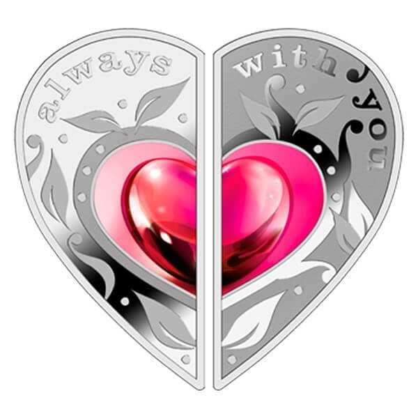 Niue 2014 2 x 1$ Always with You Proof Silver Puzzle Set