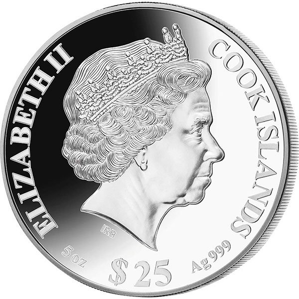 Year of the Rat Mother of Pearl 5 oz Proof Silver Coin 25$ Cook Islands 2020