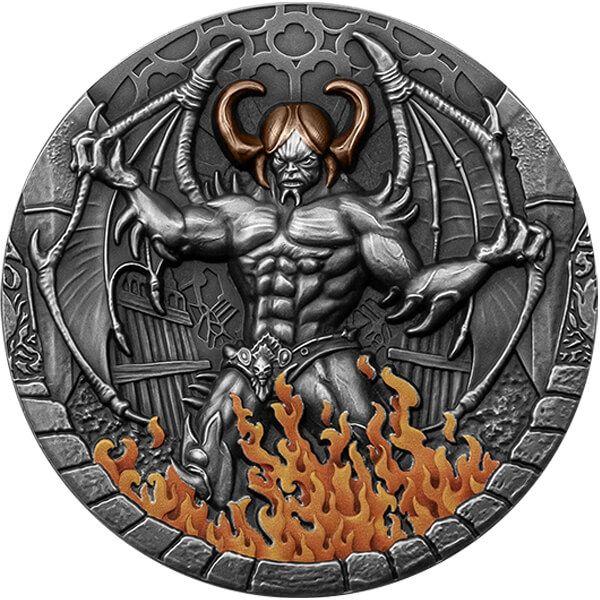 Beelzebub 2 oz Antique finish Silver Coin 2000 Francs Cameroon 2021