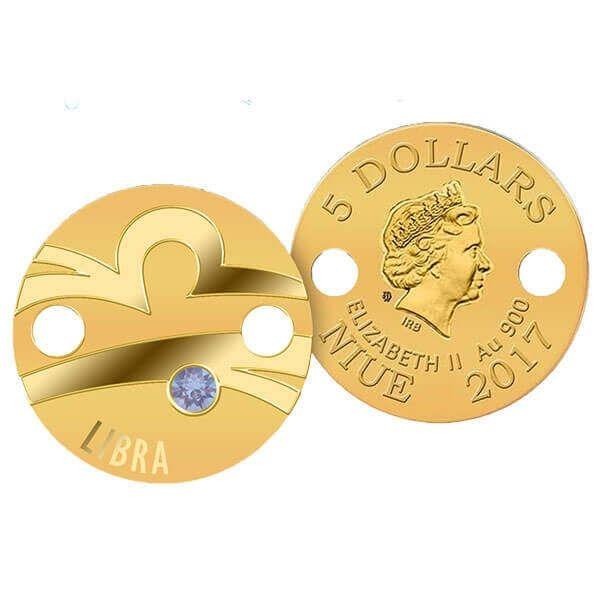 Libra Zodiac Signs Pendant 1g Proof Gold Coin 5$ Niue 2017