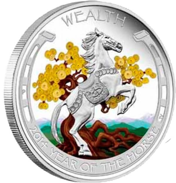 Tuvalu 2014 2x1$ Lunar Good Fortune 2014 Year of The Horse 1 Oz Proof Silver Two-Coin Set