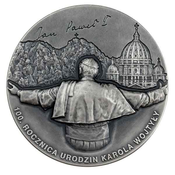 Karol Wojtyla in Memoriam 100th Anniversary of the Birth 100g Antique finish Silver Coin 3000 Francs Cameroon 2020