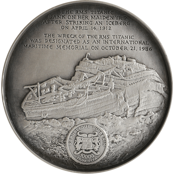 Benin 2016 10000 Francs Deep Sea Titanic 1 Kilo Antique finish Silver Coin