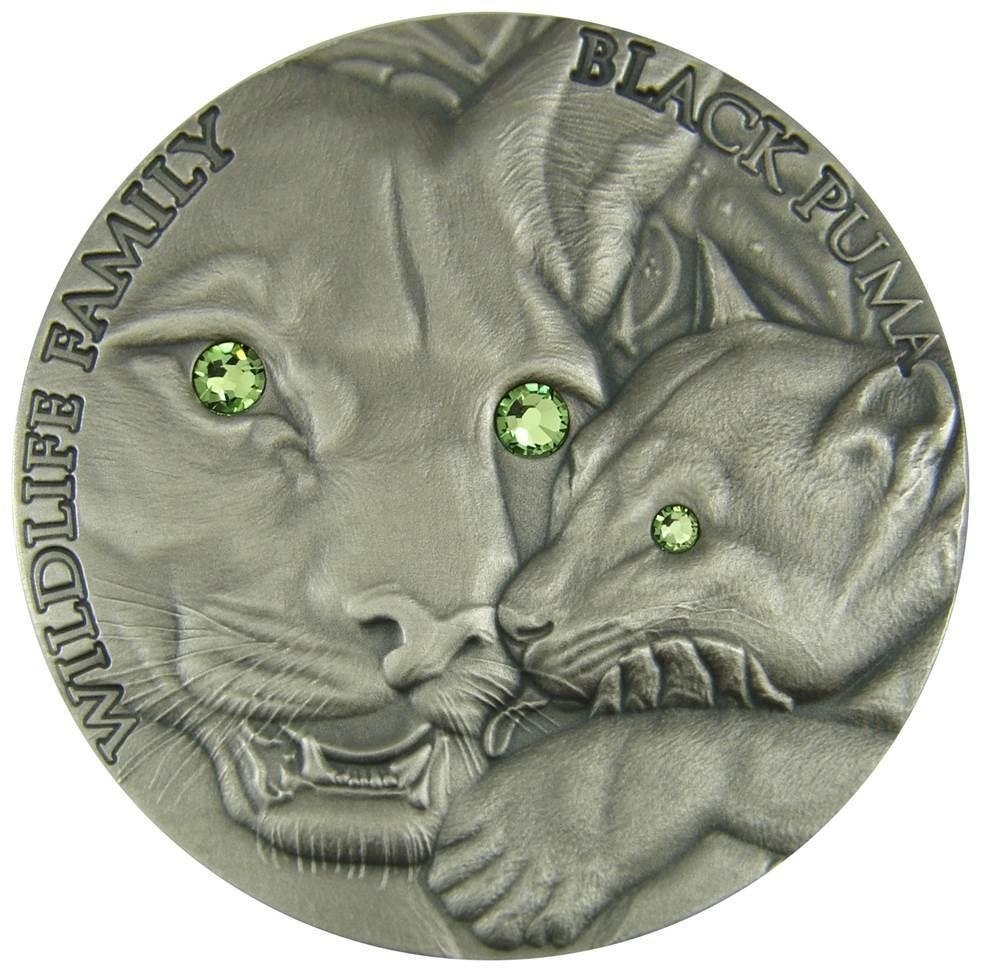 Niue 2016 1$ Black Puma Wildlife Family 1 oz Antique finish Silver Coin