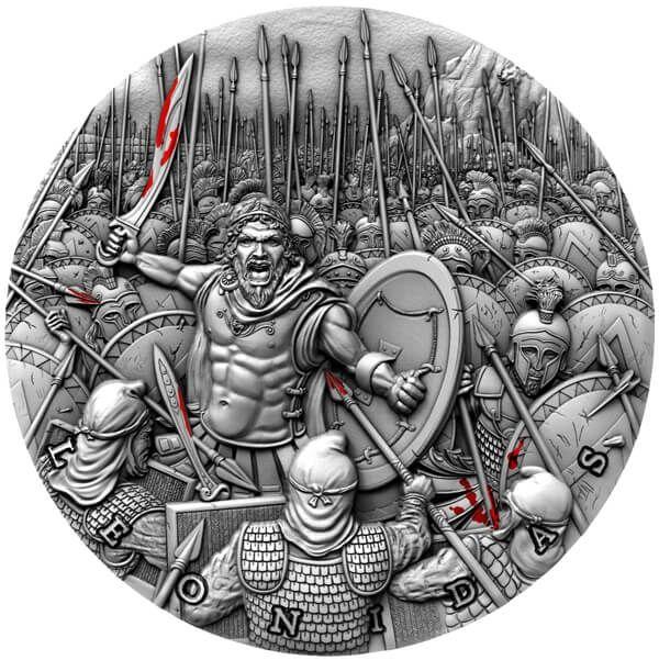 Leonidas Great Commanders 2 oz Antique finish Silver Coin 5$ Niue 2019